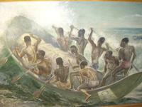 South Pacific Native Islanders Oil On Panel by Charles Cameron Baillie From Smokers Room RMS Queen Mary Liner (5 of 15)