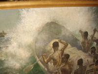 South Pacific Native Islanders Oil On Panel by Charles Cameron Baillie From Smokers Room RMS Queen Mary Liner (10 of 15)