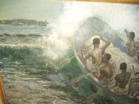 South Pacific Native Islanders Oil On Panel by Charles Cameron Baillie From Smokers Room RMS Queen Mary Liner (6 of 15)