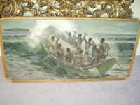South Pacific Native Islanders Oil On Panel by Charles Cameron Baillie From Smokers Room RMS Queen Mary Liner (4 of 15)