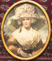19th Century Glazed Portrait Print of Young Lady Wearing Bonnet