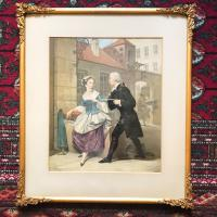 19th Century Lithograph Portrait of Gentleman & Lady in Conversation