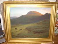 Huge 19th Century Pastel Landscape Dartmouth Exmoor Deer