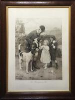 The Huntsmans Pet by Arthur J Elsley Original Antique Print c.1908