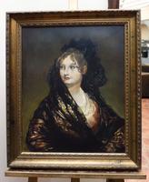 Isabel De Porcel After Francisco De Goya Oil Portrait Painting of Spanish Lady