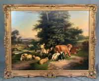 William Joseph Shayer Senior 'Attributed To' 19th Century Oil Painting Cattle & Sheep Resting in a Landscape