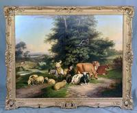 William Joseph Shayer Senior 'Attributed To' 19th Century Oil Painting Cattle & Sheep Resting in a Landscape (5 of 12)