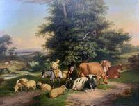 William Joseph Shayer Senior 'Attributed To' 19th Century Oil Painting Cattle & Sheep Resting in a Landscape (7 of 12)