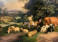 William Joseph Shayer Senior 'Attributed To' 19th Century Oil Painting Cattle & Sheep Resting in a Landscape (2 of 12)