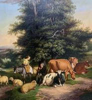 William Joseph Shayer Senior 'Attributed To' 19th Century Oil Painting Cattle & Sheep Resting in a Landscape (8 of 12)