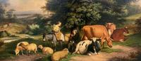 William Joseph Shayer Senior 'Attributed To' 19th Century Oil Painting Cattle & Sheep Resting in a Landscape (4 of 12)