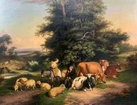 William Joseph Shayer Senior 'Attributed To' 19th Century Oil Painting Cattle & Sheep Resting in a Landscape (12 of 12)