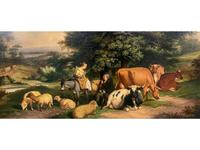 William Joseph Shayer Senior 'Attributed To' 19th Century Oil Painting Cattle & Sheep Resting in a Landscape (3 of 12)