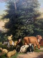 William Joseph Shayer Senior 'Attributed To' 19th Century Oil Painting Cattle & Sheep Resting in a Landscape (9 of 12)