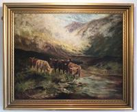 Highland Cattle Oil Painting On Canvas