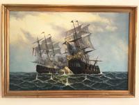 Huge Galleon Oil Painting Battle Scene Marine Naval Art