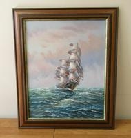 Clipper Sailing Ship Seascape Marine Oil Painting (6 of 6)