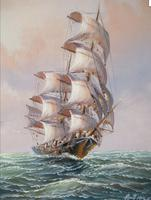 Clipper Sailing Ship Seascape Marine Oil Painting (3 of 6)