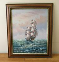 Clipper Sailing Ship Seascape Marine Oil Painting