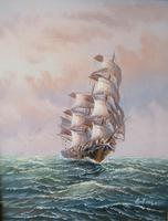 Clipper Sailing Ship Seascape Marine Oil Painting (2 of 6)