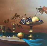Still Life Fruit Oil Painting by Jozsef Molnar (3 of 7)