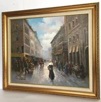 Paris Street Scene by T E Penck Impressionist Oil Painting on Canvas (3 of 7)