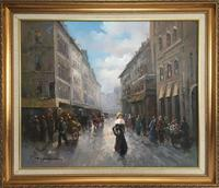 Paris Street Scene by T E Penck Impressionist Oil Painting on Canvas (6 of 7)