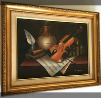 Violin Oil Painting Contemporary Still Life Study on Canvas (3 of 6)