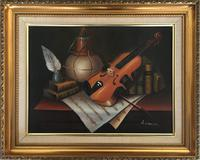 Violin Oil Painting Contemporary Still Life Study on Canvas (6 of 6)