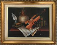 Violin Oil Painting Contemporary Still Life Study on Canvas (5 of 6)