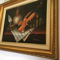 Violin Oil Painting Contemporary Still Life Study on Canvas (2 of 6)