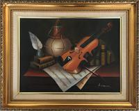 Violin Oil Painting Contemporary Still Life Study on Canvas