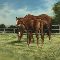 Large Vintage Equestrian Landscape Oil Painting of Horses Swept Gilt Frame (4 of 6)