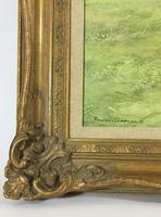 Large Vintage Equestrian Landscape Oil Painting of Horses Swept Gilt Frame (5 of 6)