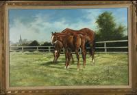 Large Vintage Equestrian Landscape Oil Painting of Horses Swept Gilt Frame (2 of 6)