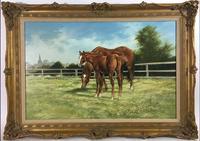 Large Vintage Equestrian Landscape Oil Painting of Horses Swept Gilt Frame