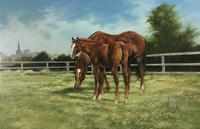 Large Vintage Equestrian Landscape Oil Painting of Horses Swept Gilt Frame (3 of 6)