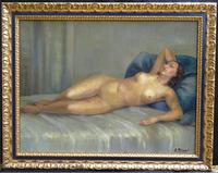 Art Deco Nude Lady Lying On Bed French Oil Portrait Painting