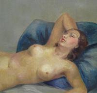 Art Deco Nude Lady Lying On Bed French Oil Portrait Painting (6 of 10)