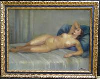 Art Deco Nude Lady Lying On Bed French Oil Portrait Painting (9 of 10)
