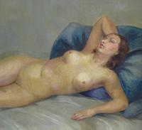 Art Deco Nude Lady Lying On Bed French Oil Portrait Painting (4 of 10)