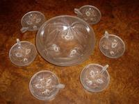 Art Glass Punch Bowl Set with 6 Samplers by G.VALLON of France 1920