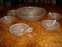 Art Glass Punch Bowl Set with 6 Samplers by G.VALLON of France 1920 (2 of 5)