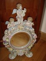 Continental Porcelain Cherub & Floral Dressing Table Mirror with Round Beveled Cut Glass C.1910