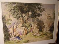 Watercolour Depicting Neo-Classical Mythology Scene