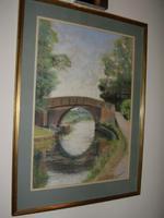 Pastel Painting of Foxton Canal Bridge near Foxton Locks in Leicestershire