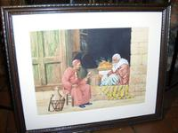 Quality Watercolour Painting by Victor Prescott of 'Egyptian Street Seller Bartering Over His Fruit' C.1920 (2 of 5)