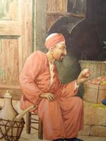 Quality Watercolour Painting by Victor Prescott of 'Egyptian Street Seller Bartering Over His Fruit' C.1920 (3 of 5)