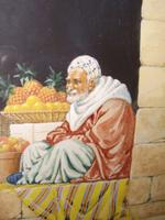 Quality Watercolour Painting by Victor Prescott of 'Egyptian Street Seller Bartering Over His Fruit' C.1920 (4 of 5)