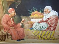 Quality Watercolour Painting by Victor Prescott of 'Egyptian Street Seller Bartering Over His Fruit' C.1920 (5 of 5)